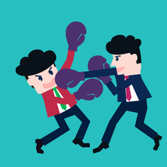 Two businessmen fighting in a boxing with boxing gloves