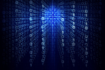 Binary computer code - Blue Abstract background