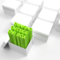 3d open box with extrude text as thinking outside the box concep