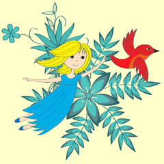Flying little girl and magical red bird