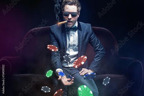 Leinwanddruck Bild Poker Player