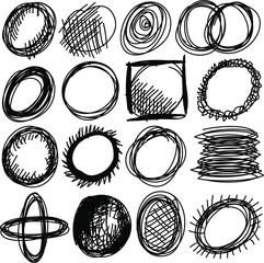 Doodle, set hand drawn shapes circle
