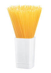 pasta in a vase on a white background