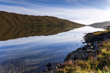 Reflection on a Scottish loch on the Isle of Skye