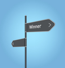 Winner nearby, dark grey road sign