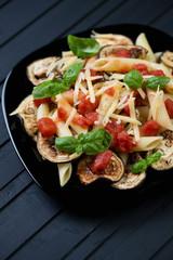 Close-up of pasta alla Norma, studio shot