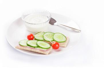 Diet sandwiches with yogurt, healthy food on white