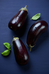 Ripe eggplants over dark blue wooden background, view from above