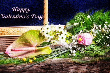 Happy Valentine's Day, Blumen im Fenster