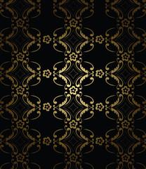 Golden black & gold decorative floral pattern