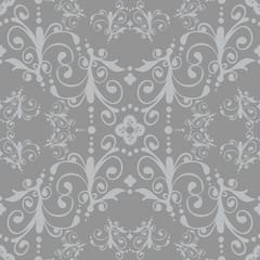 Luxury silver floral vintage seamless pattern