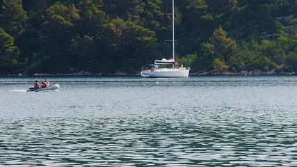 Anchored yachts and sailboats