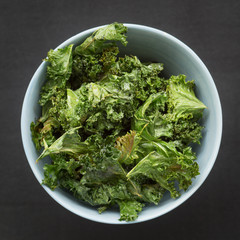 Homemade Kale Chips in a Bowl