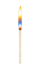 burning match on a white background