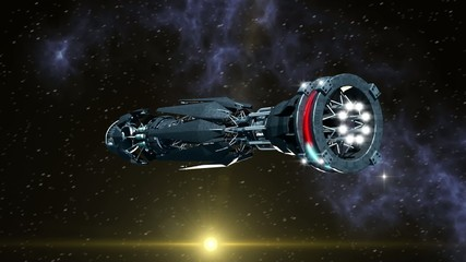 Futuristic spaceship with warp drive opening a wormhole