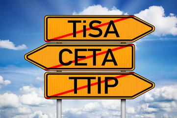 Wegweiser mit TiSA, CETA und TTIP