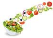 Fliegender Salat in Schüssel mit Tomate, Gurke, Zwiebel und Pap