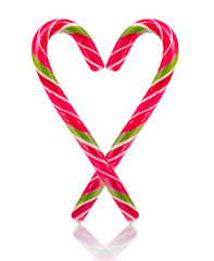 Two Candy Canes in Heart Shape Isolated on White