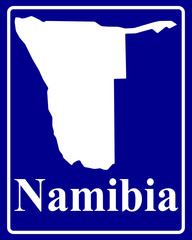 silhouette map of Namibia