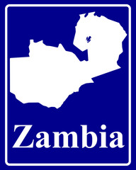 silhouette map of Zambia