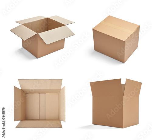 Leinwanddruck Bild box package delivery cardboard carton