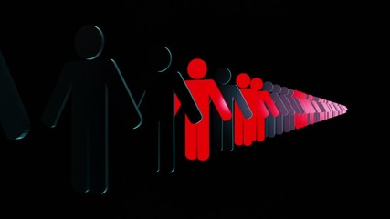 People figures in red and black in dark