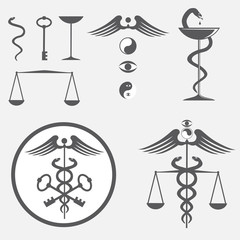 black and white icon set caduceus