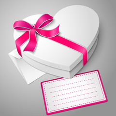 Vector realistic blank white heart shape box with envelope and