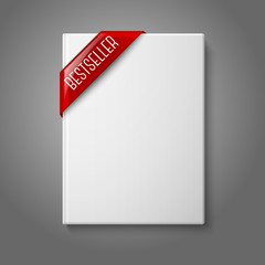Realistic white blank hardcover book, front view with red best