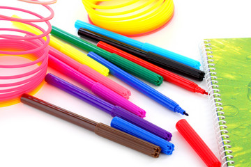 colorful rainbow and colorful markers