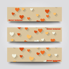 Set of banner templates with love background.