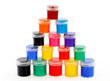 multicolor children pyramid of paints