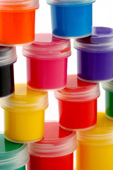 multicolor children pyramid of paints