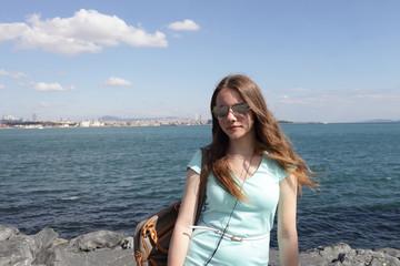 Teen on Bosphorus background