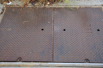 Rusty metal floor cover