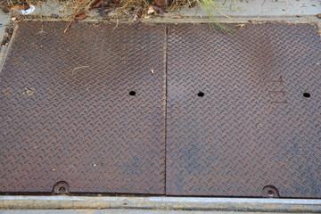 Rusty metal floor cover