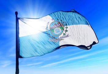 Rio de Janeiro (Brazil) flag waving on the wind