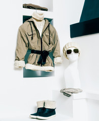 Winter Fashionable Clothing. Beige color in clothing. Urban acti