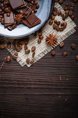 Old plate with coffee beans and chocolate