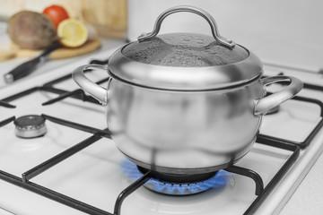pan on a gas stove