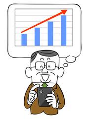 年配のビジネスマンとスマートフォンと上昇するグラフ