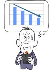 ビジネスマンとスマートフォンと下降するグラフ