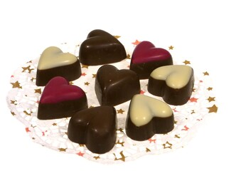Hearts of chocolate for Valentines or Mothers's day