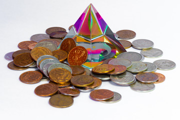 Pyramid and coins