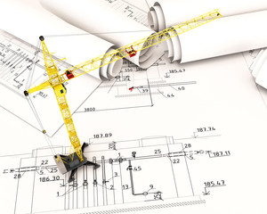 Construction crane in the drawings