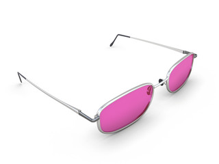 Pink glasses isolated on white background.