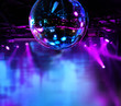 Leinwandbild Motiv Colorful disco mirror ball lights