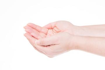 handgeste - zwei hände bilden eine schale
