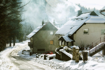 Houses and street under the snow in small town in Croatia
