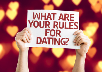 What are your Rules for Dating? card with heart bokeh
